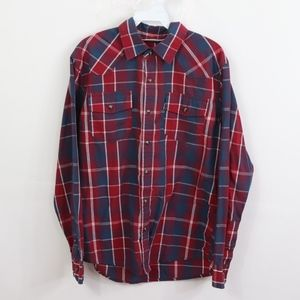 Levis Mens Small Modern Fit Pearl Snap Shirt Red